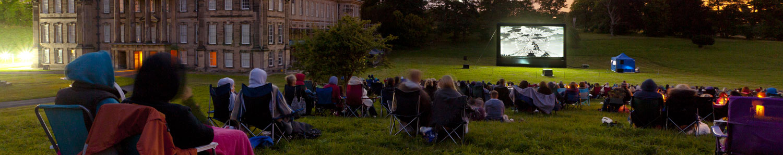 Outdoor film screening at Calke Abbey in Derbyshire