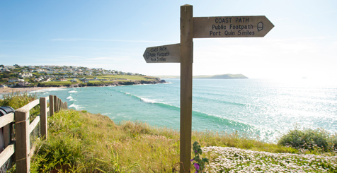 A footpath signpost on the Pentire Peninsula in Cornwall.